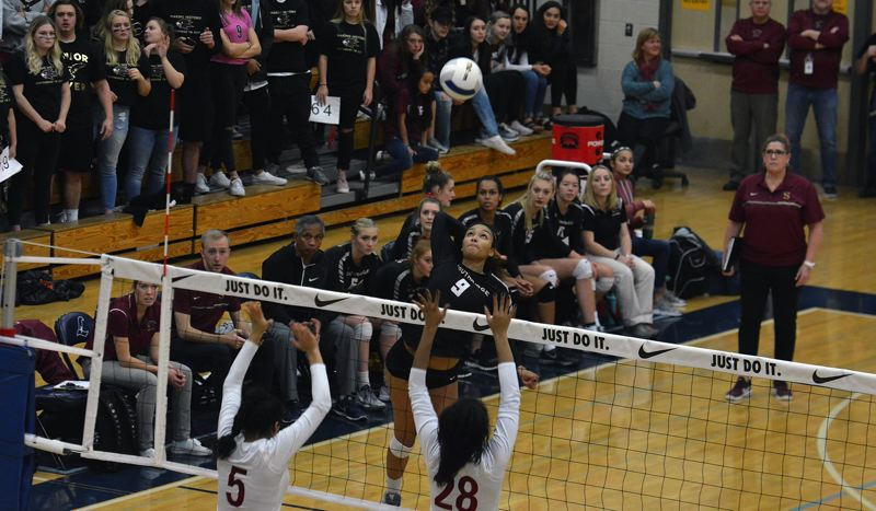 TIMES PHOTO: MATT SINGLEDECKER - Southridge senior Chloe Brown was an absolute boon as a transfer from Westside Christian. Brown had 16 kills against Central Catholic.