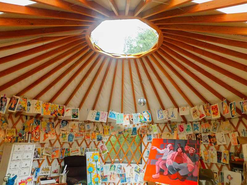 CONTRIBUTED PHOTO: CAROLINE ALLEN - Allen's yurt studio is decorated with her paintings.
