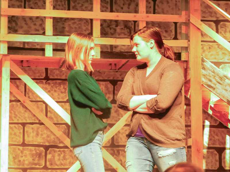 ESTACADA NEWS PHOTO: EMILY LINDSTRAND - Kamryn Tenbush plays Bambi and Megan Flohr plays Carmen Bernstein in Estacada High School's upcoming production of 'Curtains.'