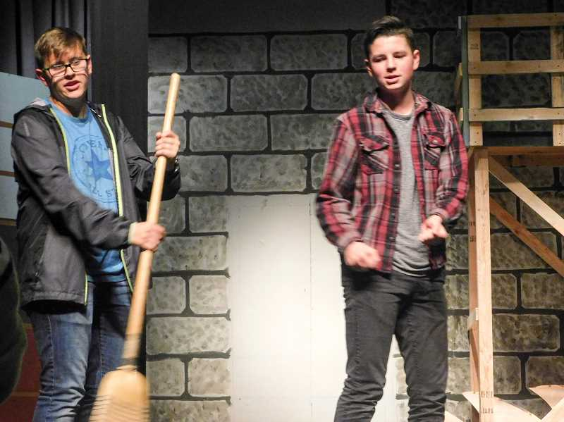 ESTACADA NEWS PHOTO: EMILY LINDSTRAND - Grant Wagner plays Randy Dexter and Carson Beguelin plays Bobby Pepper in 'Curtains.'
