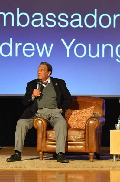 TIDINGS PHOTO: CLARA HOWELL - Andrew Young speaks at Athey Creek Middle School about love, peace and justice.