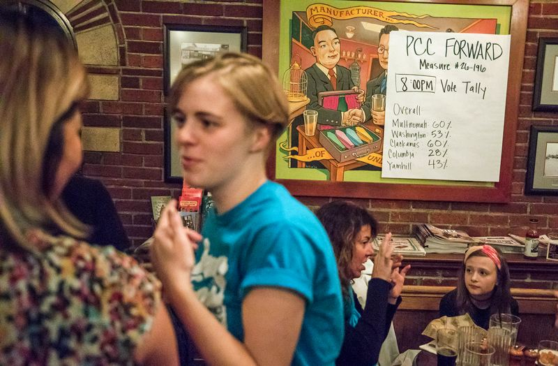 TIMES PHOTO: JONATHAN HOUSE - The 8 p.m. returns are posted during the PCC Bond Measure party Tuesday night in North Portland.