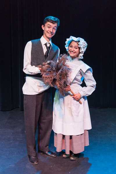 PHOTO COURTESY OF DAVID KINDER - Cole Sanchez and Yelena Friedman play the Banks family's butler and maid in Lakeridge High's production of 'Mary Poppins.'