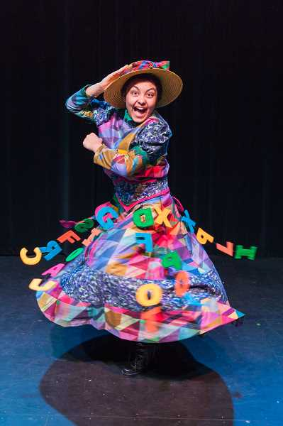 PHOTO COURTESY OF DAVID KINDER  - Mrs. Corry, played by Isa Melendez, shows off her colorful costume during a dress rehearsal for 'Mary Poppins.'