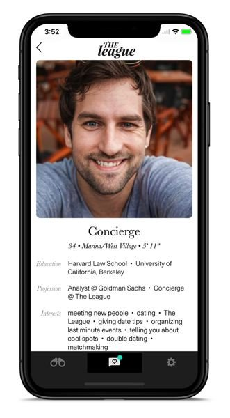 COURTESY: THE LEAGUE - The League uses live concierges to help its app users finesse their dates. Conor is real.
