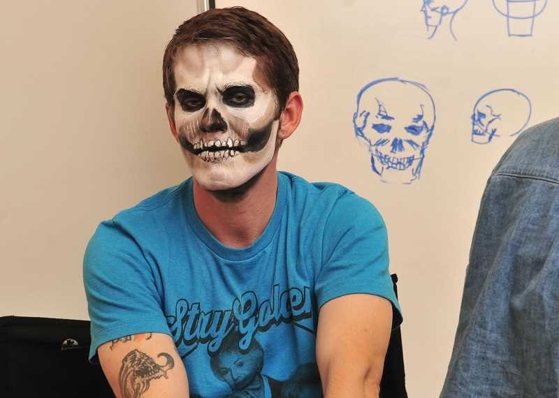 Student Zack Smith was the model for instructor Thomas Surprenauts lesson at the Art of Makeup school.