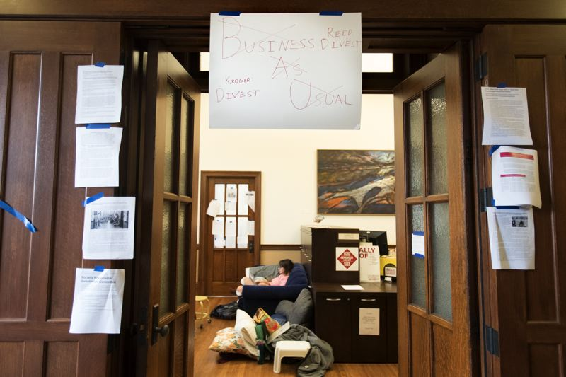TRIBUNE PHOTO: JAIME VALDEZ - Reedies Against Racism have organized a sit-in of the Reed College president's office since Oct. 23, demanding that the university divest from Wells Fargo. It is just the latest in a long series of divestment protests among the nonprofit college's student body.