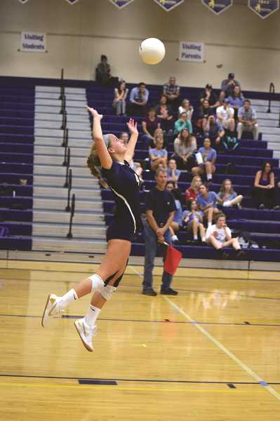 HERALD PHOTO: TANNER RUSS - Sophomore Ruby Kayser was put into the setter position, and rose to the challenge. Kayser helped get the team into the first round of the state playoffs.