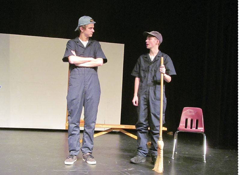 PHOTO BY ELLEN SPITALERI - Nic Pheiffer, left, and Duncan Harris discuss their futures during the course of 'Somewhere, Nowhere,' the fall play at Gladstone High School opening on Nov. 17.