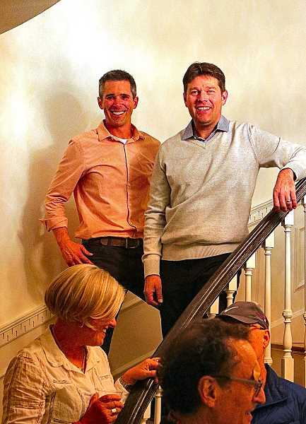 DAVID F. ASHTON - Standing in the Grand Staircase are Portland Houseworks LLC partners Sean Heyworth and Mike Mitchoff. They restored the mansion instead of tearing it down, and now its on the market.