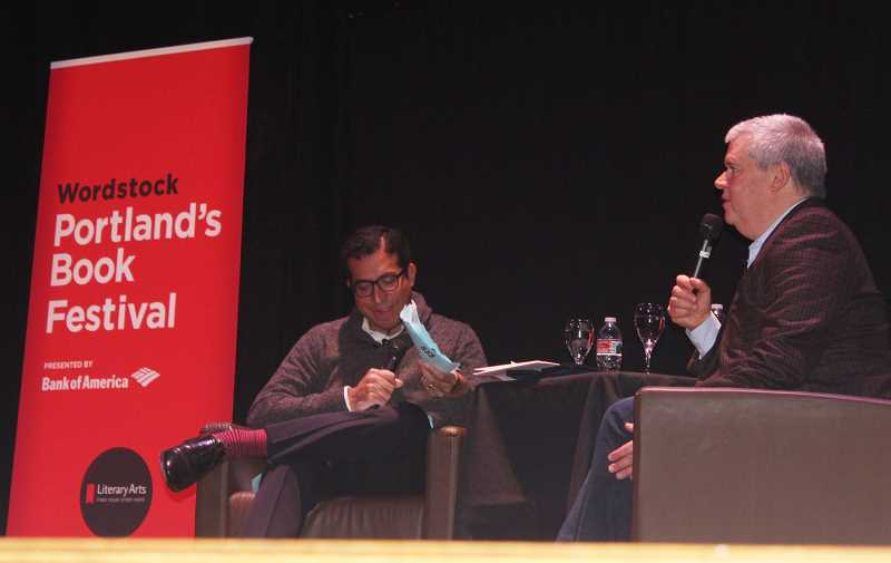 REVIEW PHOTO: COREY BUCHANAN - 'A Series of Unfortunate Events' author Daniel Handler talks with New York Times editor Gilbert Cruz during a presentation Saturday at Wordstock, Portland's annual literary festival.