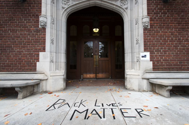 TRIBUNE PHOTO: JAIME VALDEZ - The entrance to Eliot Hall, the administrative offices to Reed College in Southeast Portland, was marked with black tape to read Black Lives Matter.