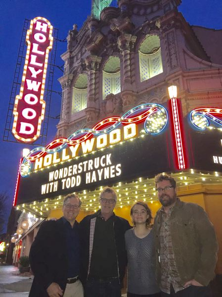 COURTESY PHOTO - (From left) Glen Gilbert, executive director at Tucker Maxon School, Todd Haynes, Millicent Simmonds and Doug Whyte, executive director at the Hollywood Theatre, pose ahead of a benefit showing of 'Wonderstruck' last week.