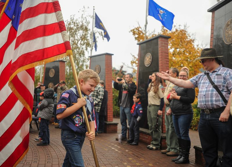 FILE PHOTO - The Boy Scouts honor our veterans every year at the Gresham Heroes Memorial.