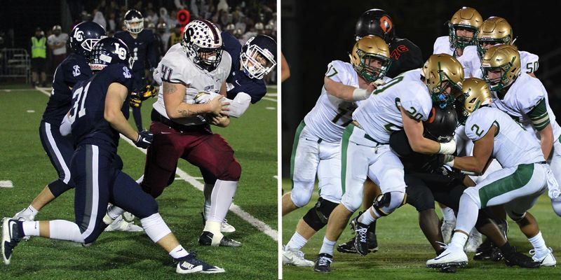 PAMPLIN MEDIA GROUP PHOTOS - The Lake Oswego (left) and Jesuit defenses plan to make a statement when their teams meet in the Class 6A state quarterfinals this week — the top-ranked Lakers host the No. 9 Crusaders at 7 p.m. Friday night.