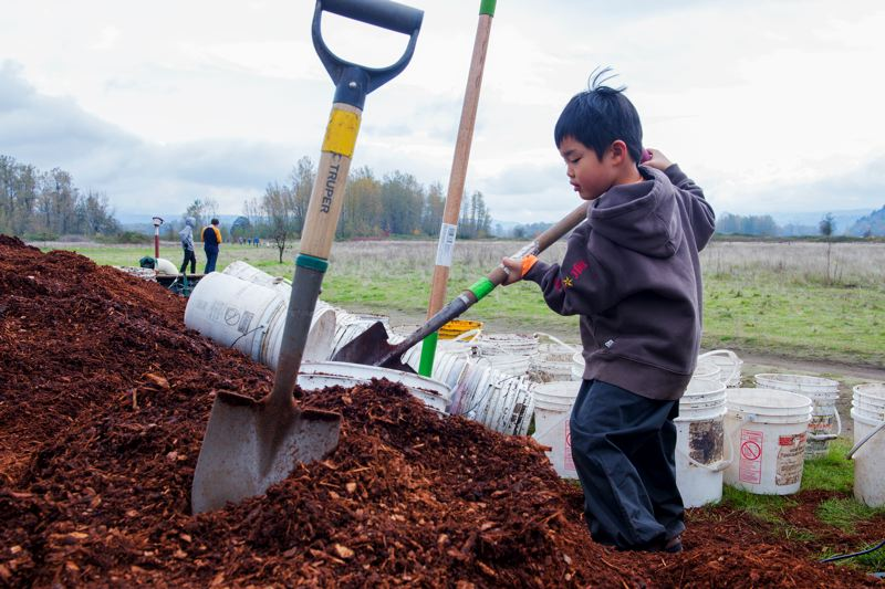 CONTRIBUTED PHOTO: PORT OF PORTLAND  - A child scoops up a load during a tree planting event.