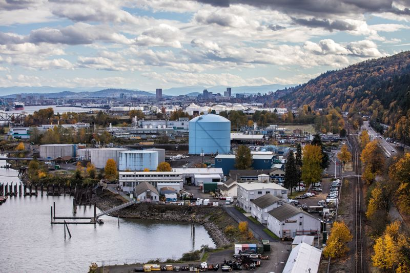 PAMPLIN MEDIA GROUP: JONATHAN HOUSE - Linnton's industrial neighbors can be seen clearly from the St. Johns Bridge in far Northwest Portland, looking to the southeast.