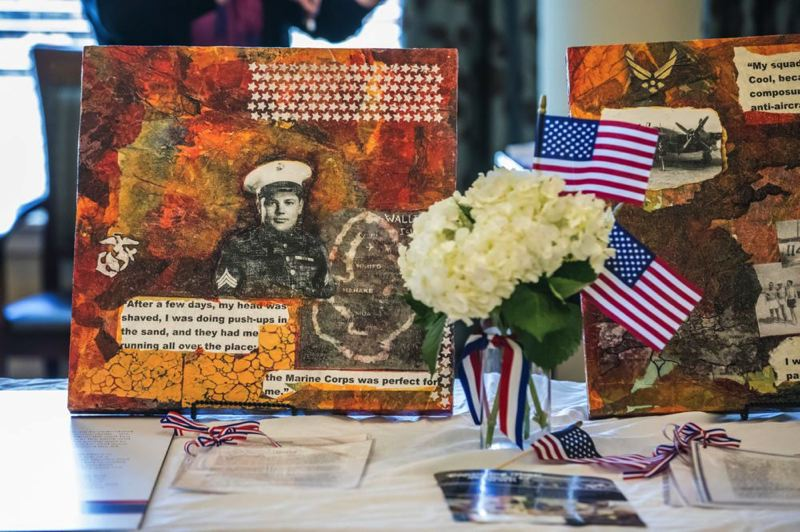TIMES PHOTO: JONATHAN HOUSE - A reception at Marquis Tualatin Assisted Living spotlighted mixed-media artwork by World War II veterans and widows.