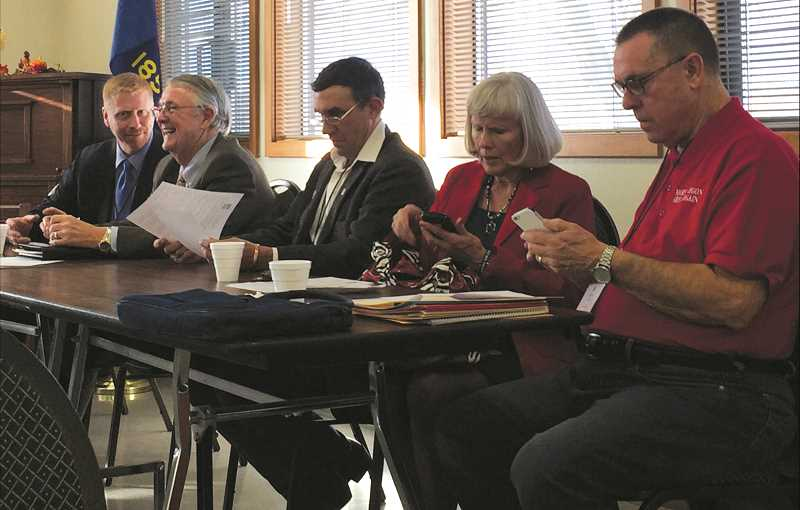 SUBMITTED PHOTO - From left to right, the panel of candidates for District 59 representative included: Daniel Bonham, of Wasco County; Mike Shirtcliff, of Deschutes County; Perry Patrick, of Wheeler County; Mae Huston, of Jefferson County; and Bob Perry, of Deschutes County. Huston, Bob Perry, and Bonham were chosen to move forward in the process to find a replacement for former Rep. John Huffman.