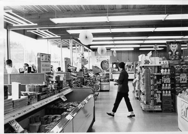 PHOTO COURTESY OF THE LAKE OSWEGO PUBLIC LIBRARY - Remsen's Lakeside Thriftway featured the latest in grocery store equipment and design after the store was remodeled in 1959-60. This photo was taken in 1964.
