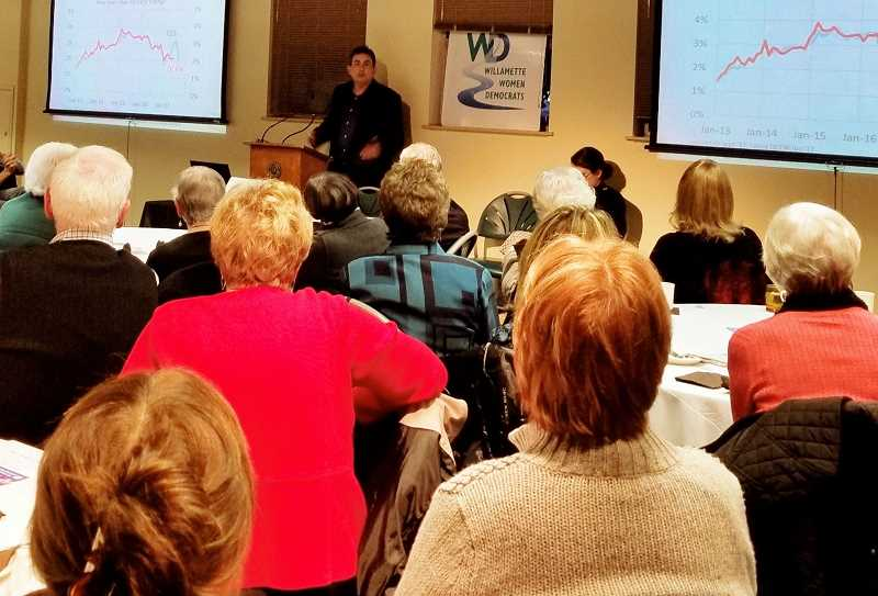 REVIEW PHOTO: ANTHONY MACUK - Mark McMullen, Oregons chief economist, talks about the state budget during a meeting last week of the Willamette Women Democrats.
