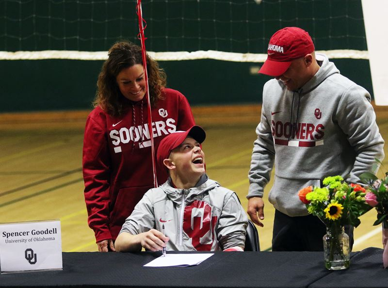 DAN BROOD - Tigard senior Spencer Goodell signed his letter of intent to compete for the men's gymnastics team at the University of Oklahoma.