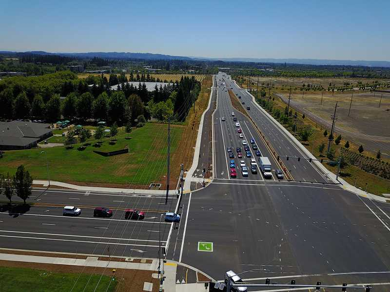 COURTESY PHOTO: WASHINGTON COUNTY - The intersection of Northeast Cornelius Pass Road and Northwest Evergreen Parkway was one of several major intersections to receive improvements as part of a construction project that wrapped up last March.