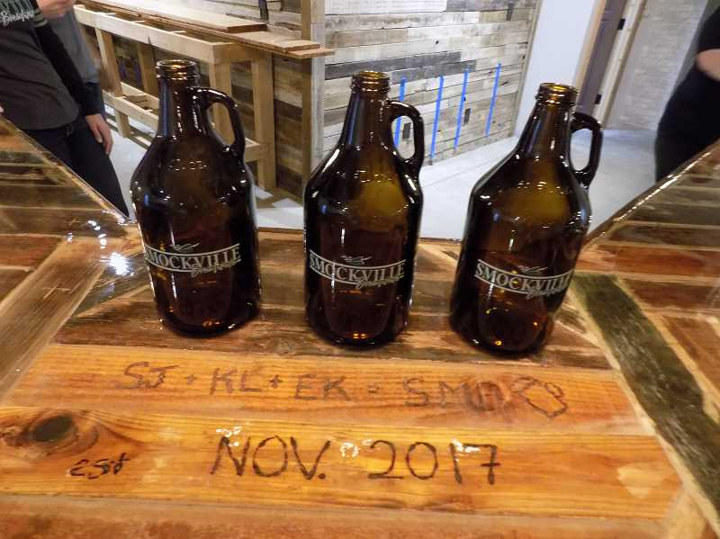 GAZETTE PHOTO: RAY PITZ - Smockville Brewhouse takes its name from the original name of Sherwood and the owners want to make sure its commemorated on the spacious bar.