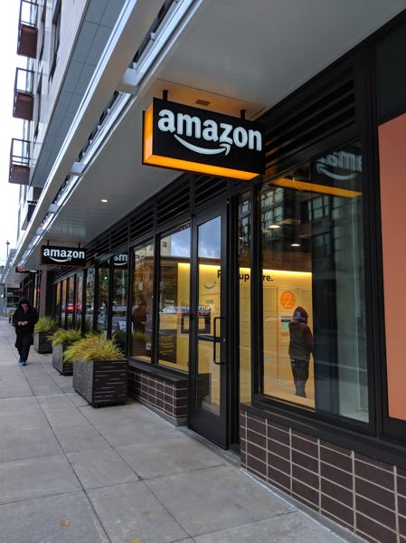 PAMPLIN MEDIA GROUP: JOSEPH GALLIVAN - The exterior of the Amazon@Downtown Portland store on Southwest Jefferson Street.