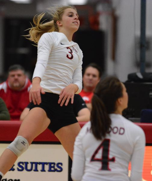 OUTLOOK PHOTO: DAVID BALL - Mt. Hoods Hannah Spears came up with seven kills and a team-high 14 digs during the teams three-set loss to Edmonds in the Northwest tournament Thursday night.
