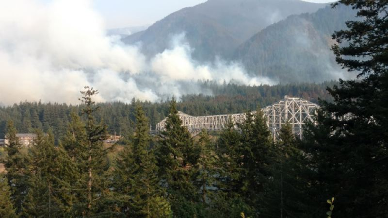 KOIN 6 NEWS PHOTO - Smoke from the Eagle Creek Fire seen near Cascade Locks on September 8, 2017.