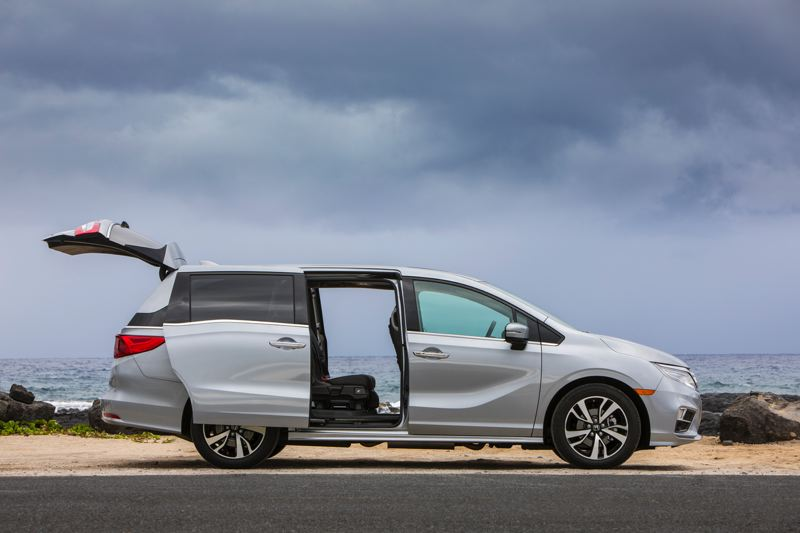 HONDA NORTH AMERICA - Even with the side and rear doors open, the 2018 Honda Odyssey is one of the best looking minivans ever devised.