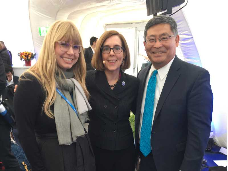 COURTESY: PCC - PCC sustainability manager Briar Schoon and president Mark Mitsui pose with Gov. Kate Brown at the U.N.'s Conference of Parties 23 in Bonn, Germany last week.
