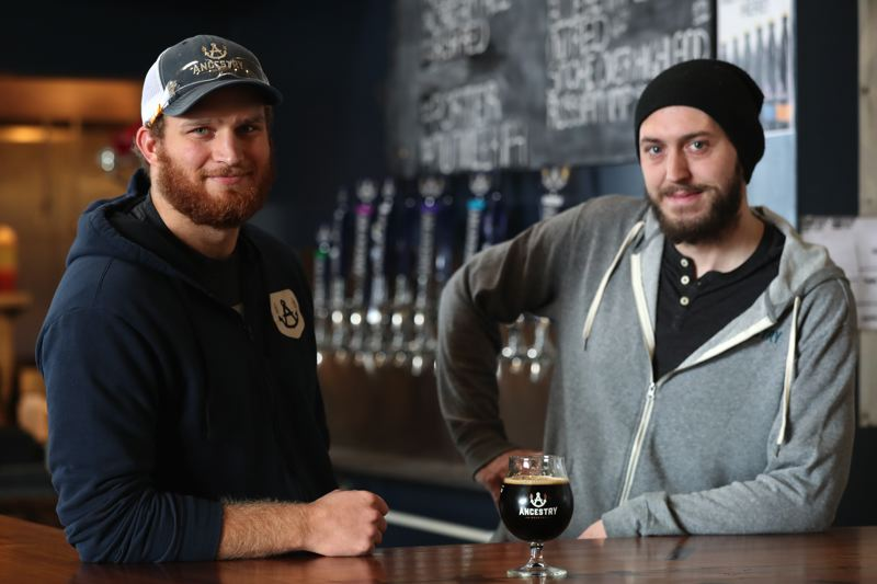 TIMES PHOTO: JAIME VALDEZ - Ancestry Brewing head brewer Brian Engdahl, left, and floor manager Karl Brown are the creative minds behind the Tualatin-based brewerys Horchata Winter Stout.