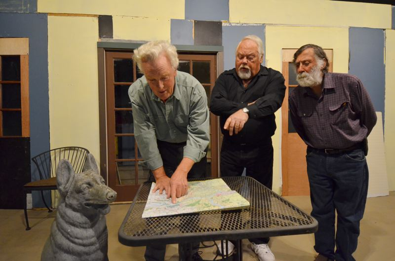 CONTRIBUTED PHOTO: MICHAEL HENLEY - Actors Jim Butterfield, Carl Coughlan and Daniel Robertson planning their escape from their French retirement home.