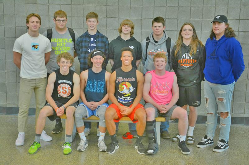 SPOTLIGHT PHOTO: JAKE MCNEAL - FOOTBALL: Back row, from left: First-teamers Jack Eggers, Tommy McKedy, Benji Davidson, Trey Bispham, Matt Roth and honorable mentions Connor McNabb and Terrence Lewis. Front row, from left: All-leaguers Jake Gray, Jerad Toman, Tevin Jeannis and Nate Maller.