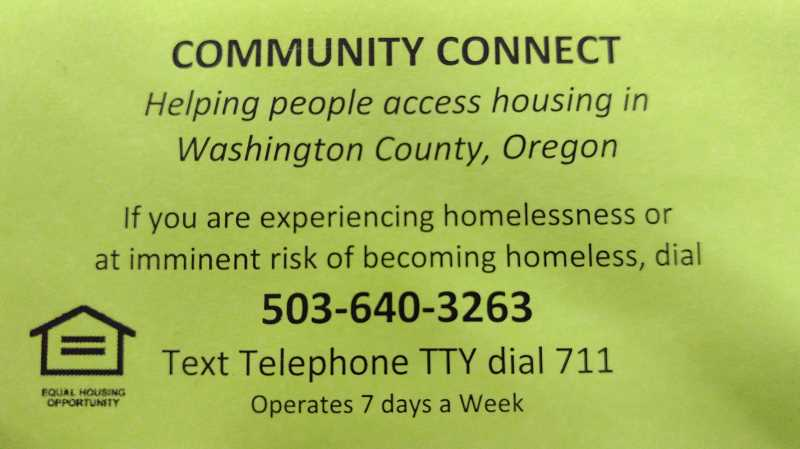 NEWS-TIMES PHOTO - This small card can be passed out to people who might need help finding housing.