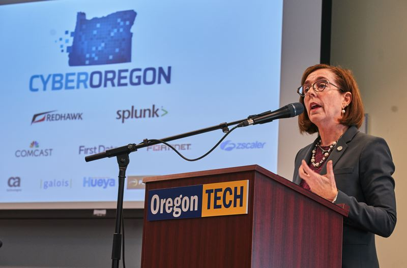 SUBMITTED PHOTO - Gov. Kate Brown announces Nov. 20 as the 'Oregon Day of Cyber' along with the official launch of the Oregon Cyber initiative.