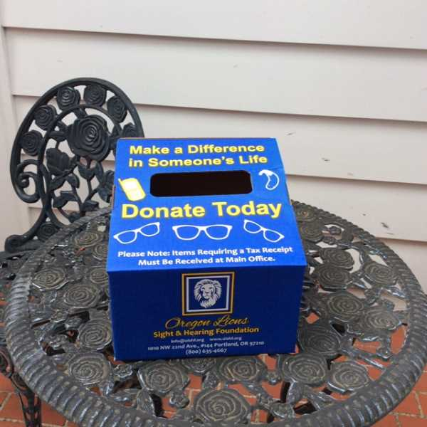 SUBMITTED PHOTO - Look for the Lake Oswego Lions Clubs drop boxes in businesses throughout the city. The club seeks donations all year long of used eyeglasses, but particularly at this time of year.