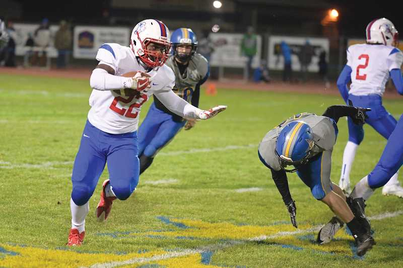 LON AUSTIN/FOR THE PIONEER - Madras sophomore running back Treyvon Easterling was named to the TVC all-league first team after he rushed for 1,170 yards and 11 touchdowns.