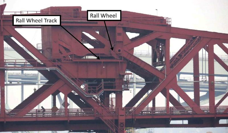 SUBMITTED: MULTNOMAH COUNTY - The Rall wheels move on their tracks as the bridge opens up and out. It was first built in 1913, the only time when this system was popular.