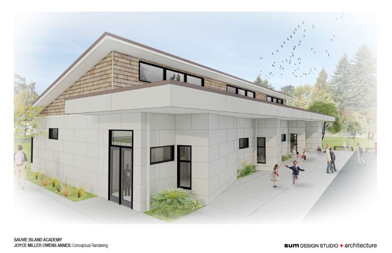 IMAGE COURTESY OF SUM DESIGN GROUP - A visual rendering of what three new classrooms at Sauvie Island Academy will look like. The architectural designs were completed earlier this year, and the SIA school board is now seeking proposals for construction.