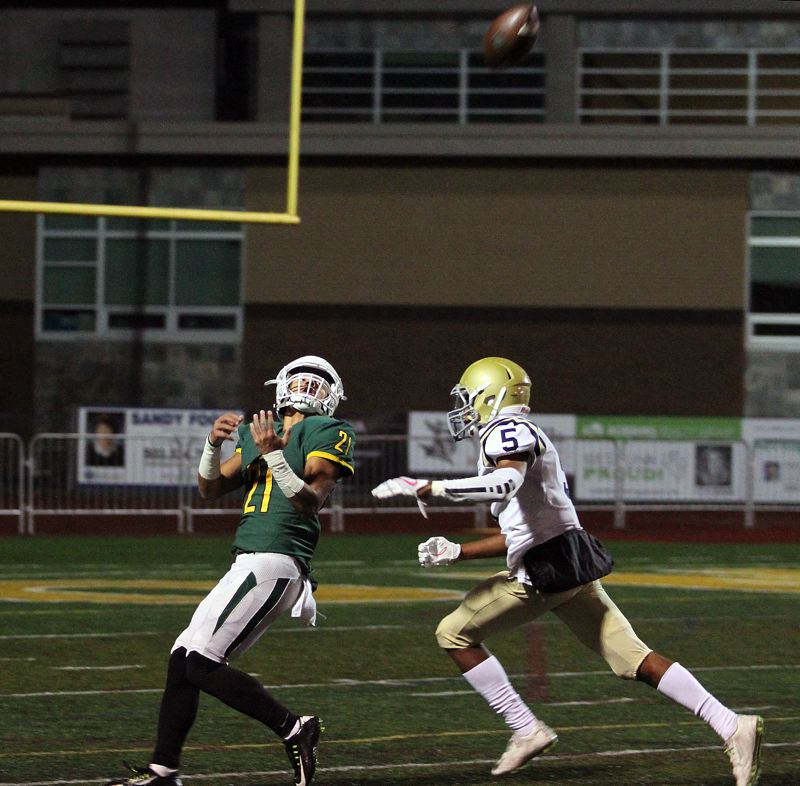 TIDINGS PHOTO: MILES VANCE - West Linn senior wide receiver Qawi Ntsasa (shown here against West Albany) was named Three Rivers League co-Offensive Player of the Year for 2017.
