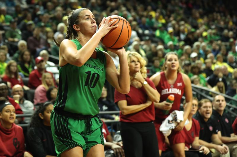 TRIBUNE PHOTO: JAIME VALDEZ - Lexi Bando of Oregon launches a shot Saturday vs. Oklahoma.