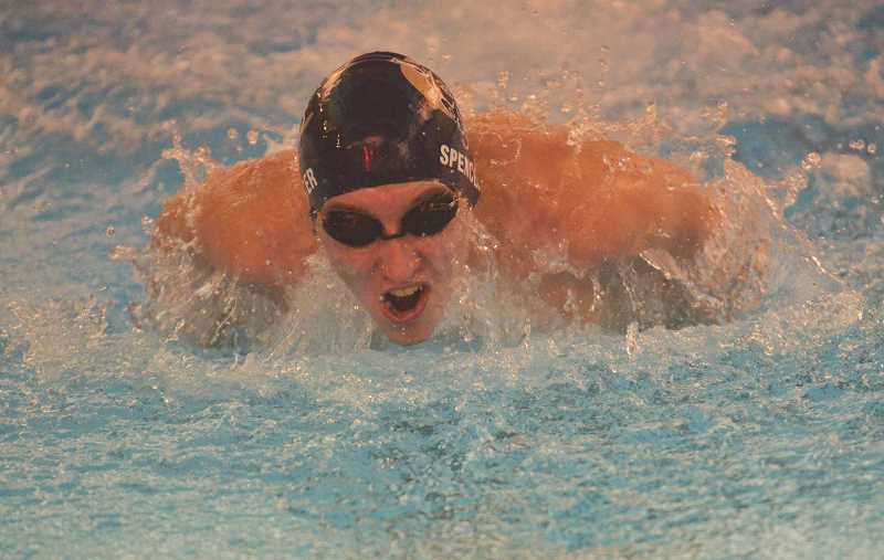 HERALD PHOTO: TANNER RUSS - Senior Jarod Spencer returns to the team to lead the charge towards a league title. As one of the leaders, he and others will help the newer swimmers find their place on the team.