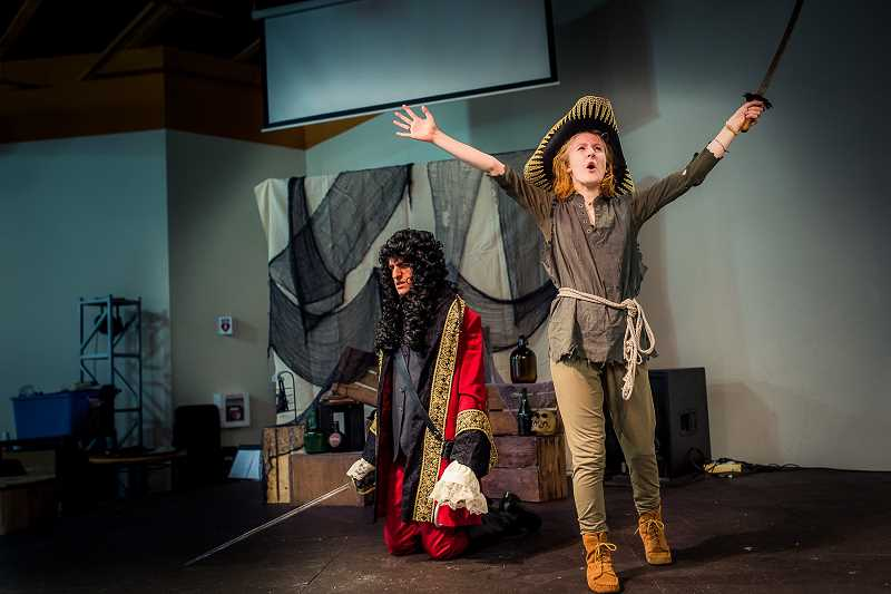 COURTESY PHOTO - Sequoia Boom, right, plays Peter Pan while Brook Mackaness plays Captain Hook in the Eastside Theatre Company's production of 'Peter Pan.'