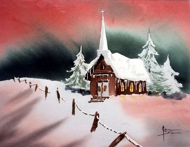 COURTESY PHOTO - Jan Su Hirst is one of four artists displaying snow-themed paintings at Clarks Bistro in December.