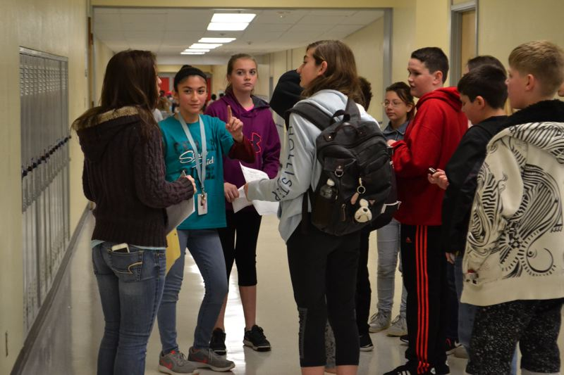 POST PHOTO: BRITTANY ALLEN - Students toured the new Cedar Ridge Middle School building on Friday, Nov. 17.