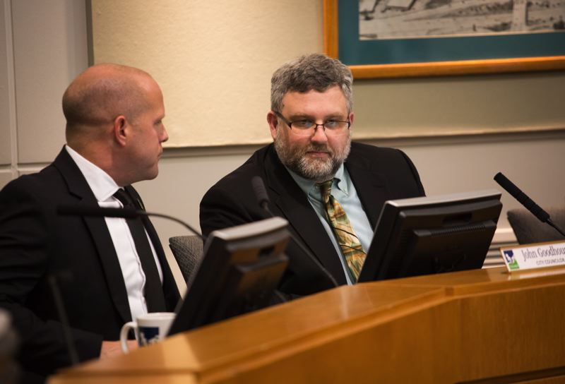 FILE - Tigard City Council President Jason Snider, right, and Councilor John Goodhouse (pictured in January) led the rest of the council in approving a resolution pledging Tigard to promote 'a welcoming environment where every person feels safe, regardless of immigration status' on Tuesday.