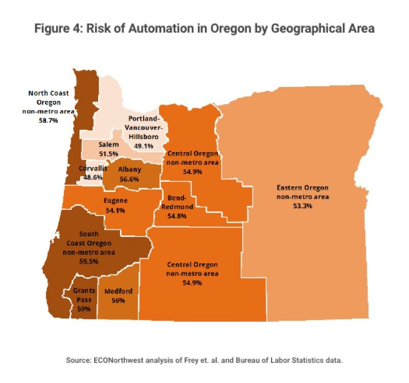 COURTESY: ECONORTHWEST - The darkest areas are the part of Oregon where most jobs are likely to affected by automation. Folks there will be most in need of retraining to avoid unemployment, according to a new study by ECONorthwest.